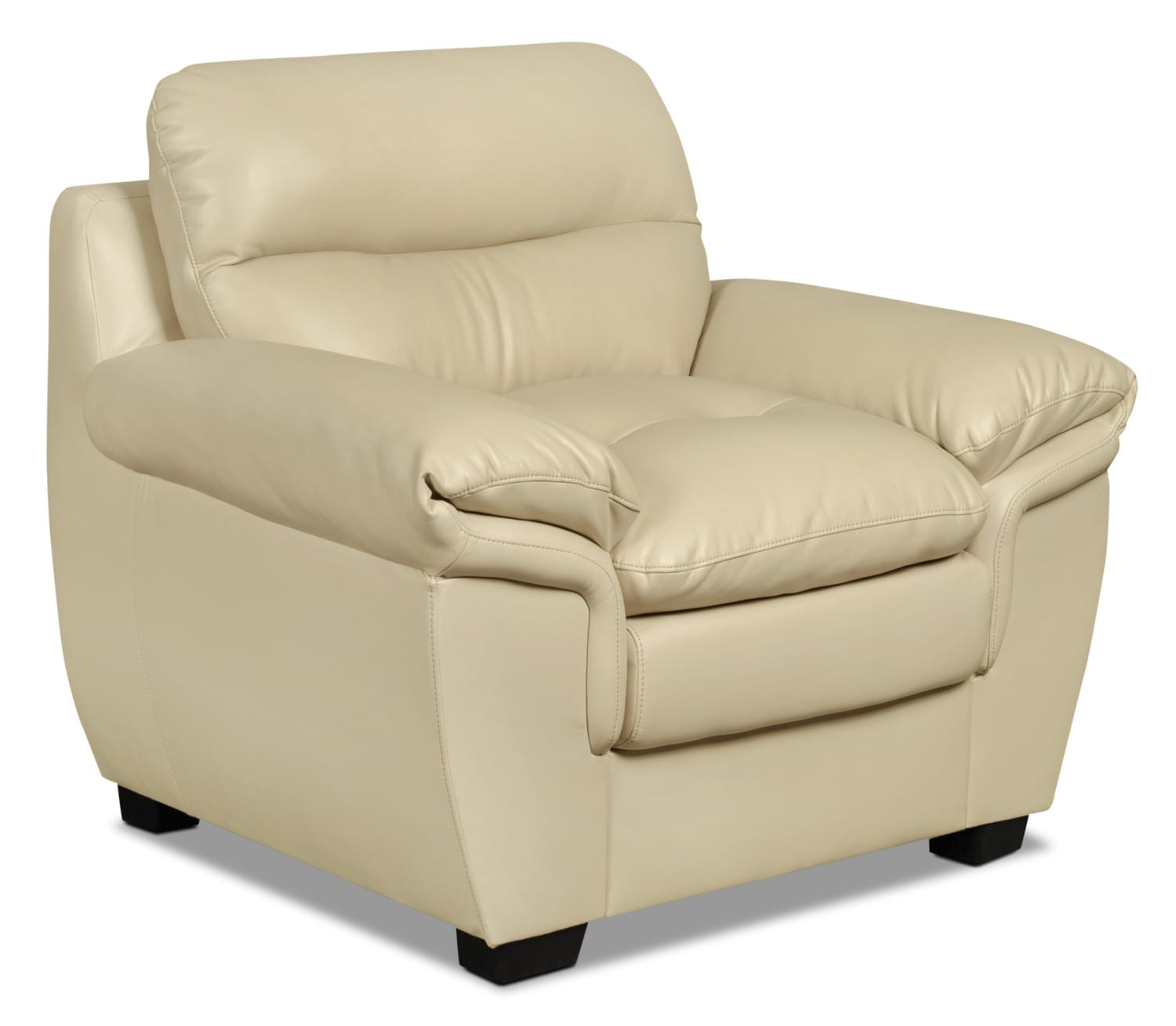 Bryon Leather-Look Fabric Chair – Cream