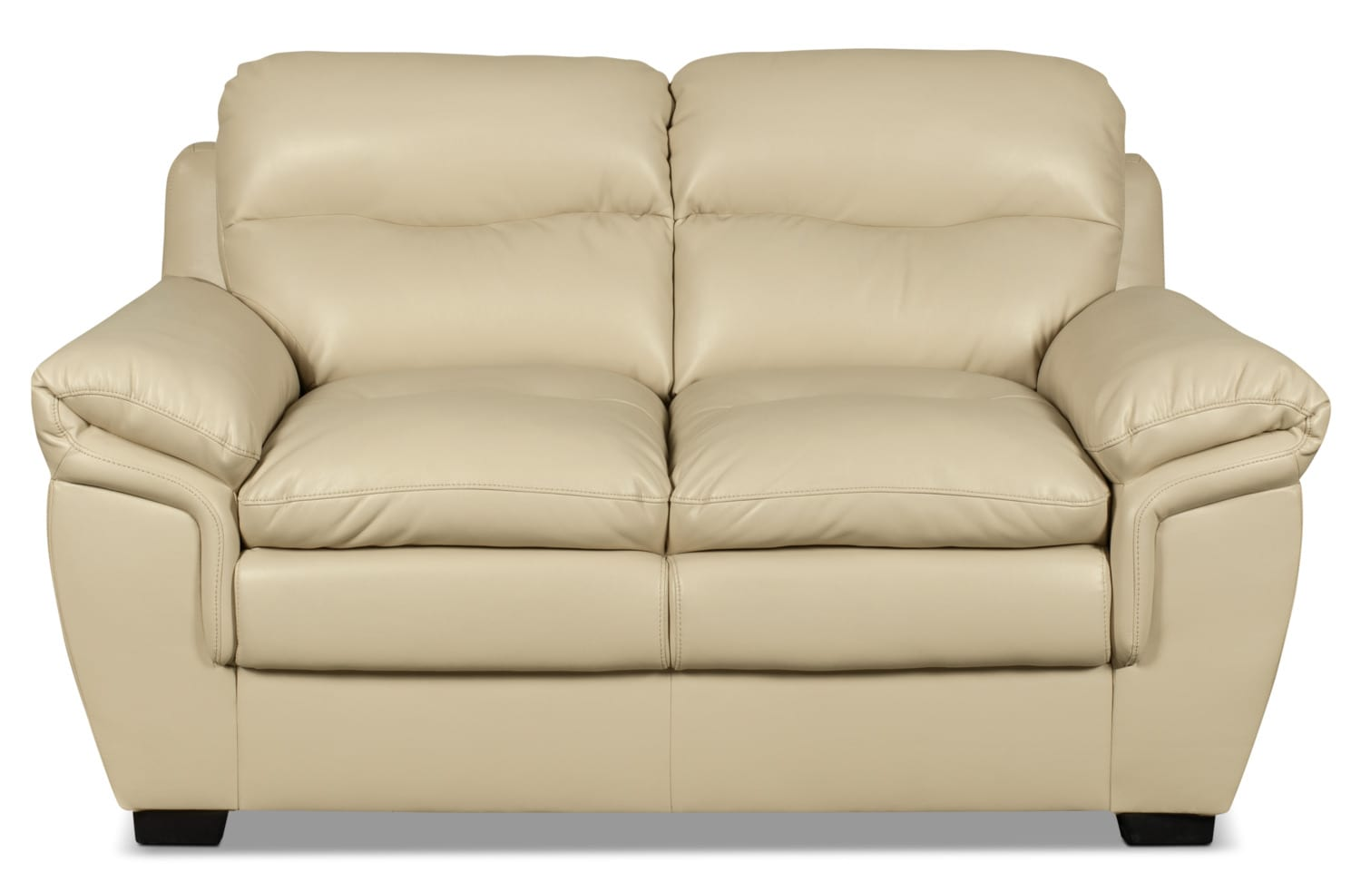 Bryon Leather-Look Fabric Loveseat – Cream