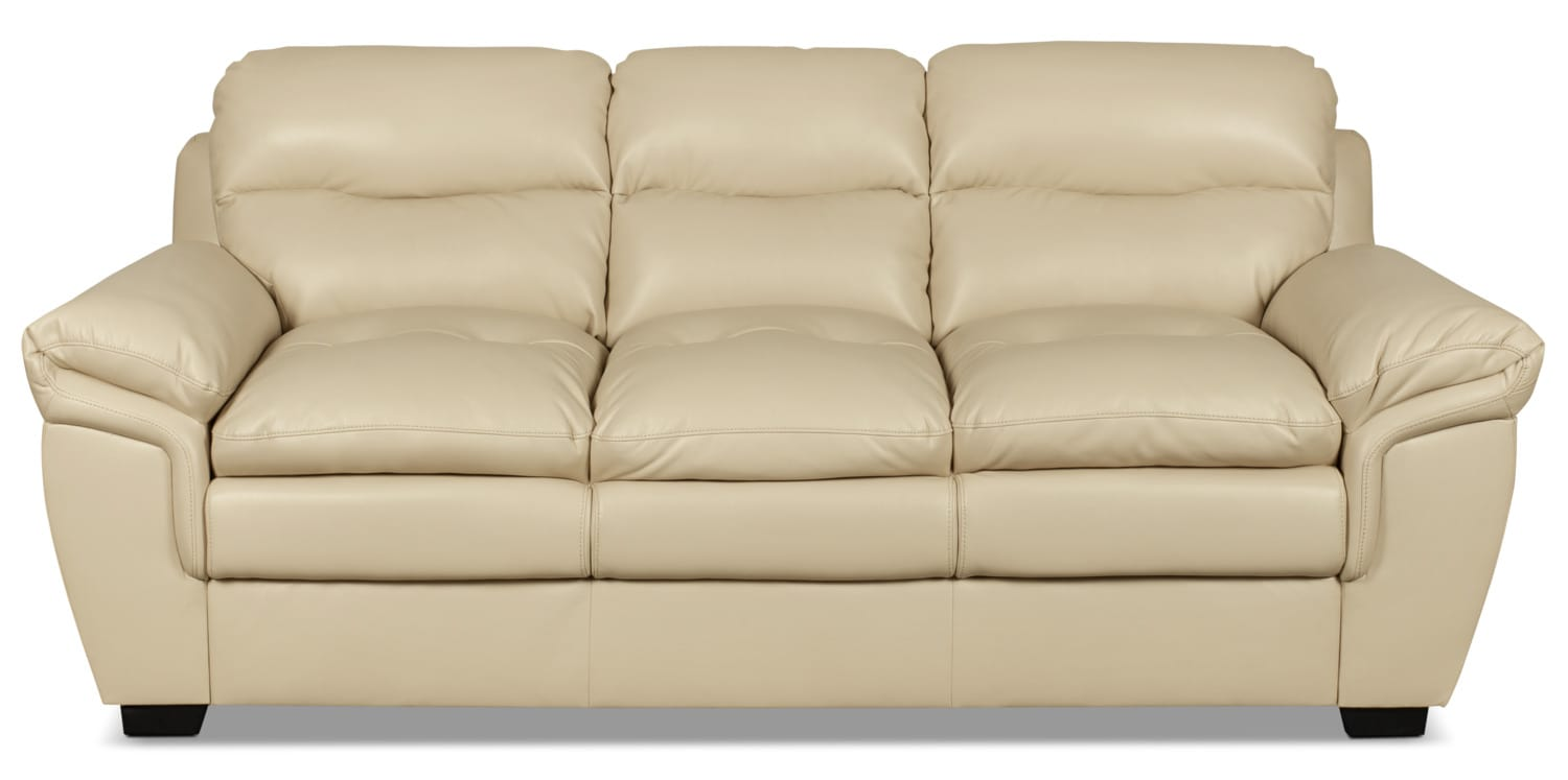 Bryon leather look fabric sofa cream united furniture Cream fabric sofa