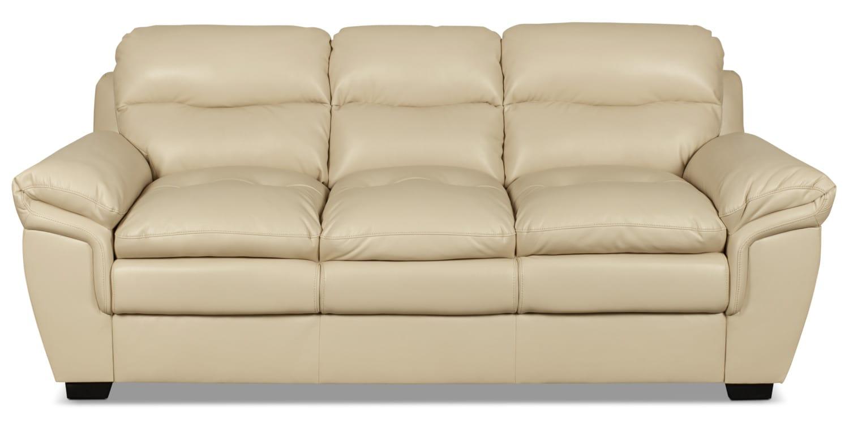 Bryon Leather-Look Fabric Sofa – Cream