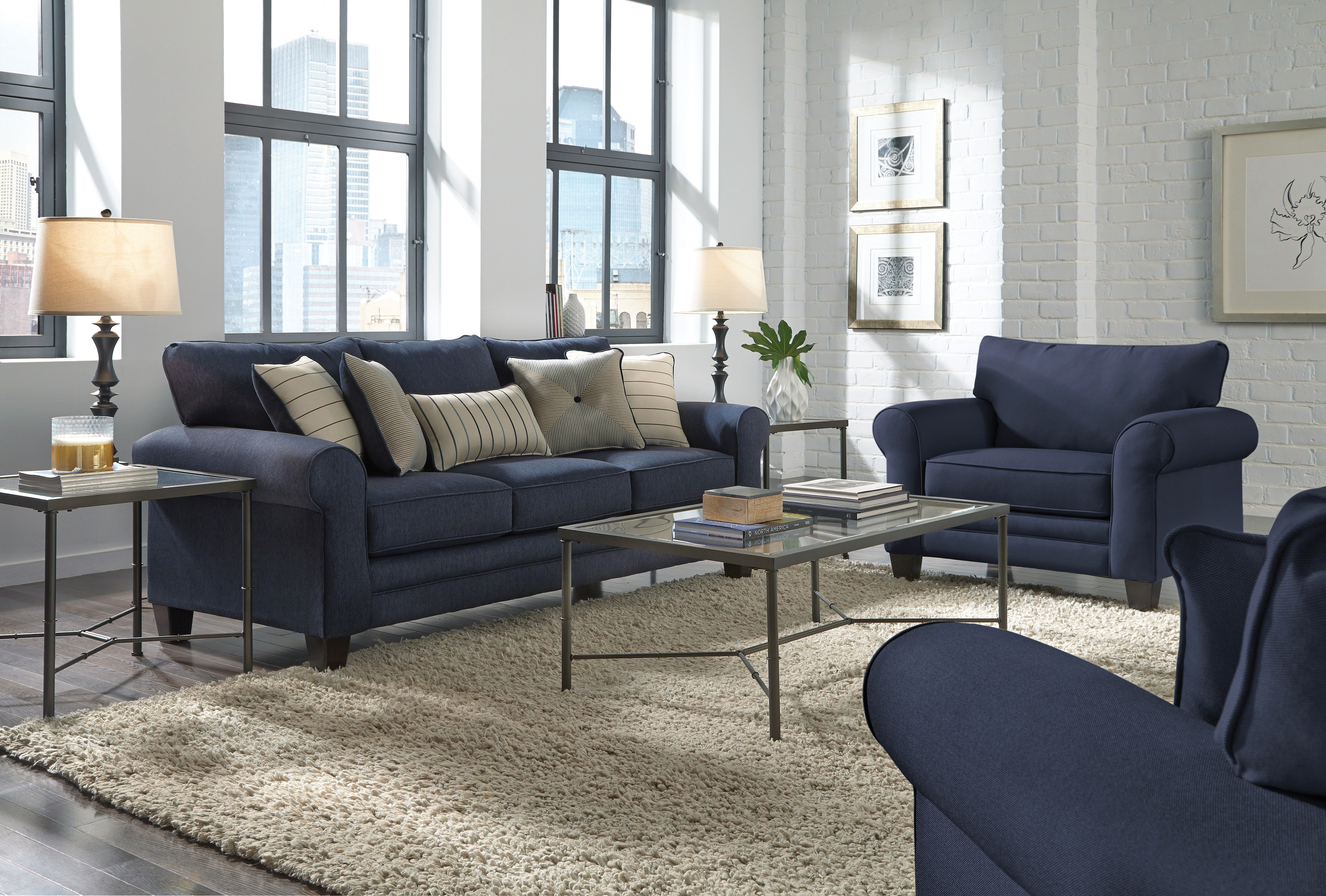 Living Room Furniture - Aspire Ottoman - Navy