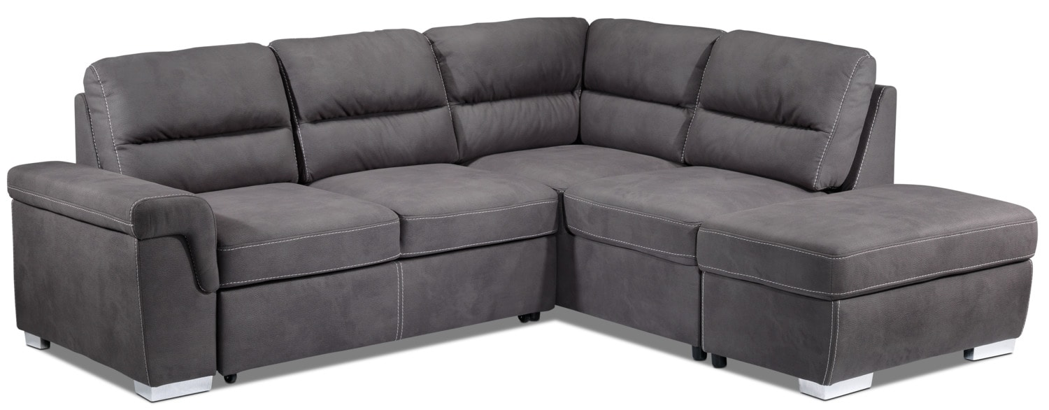Simone 3-Piece Right-Facing Sofa Bed Sectional - Charcoal