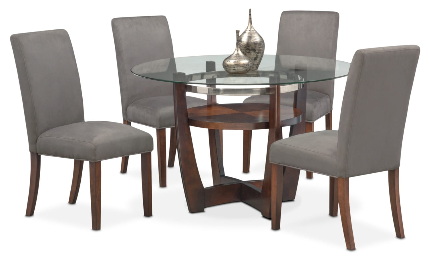 Grey Dining Room Table Sets: Alcove Table And 4 Side Chairs - Gray