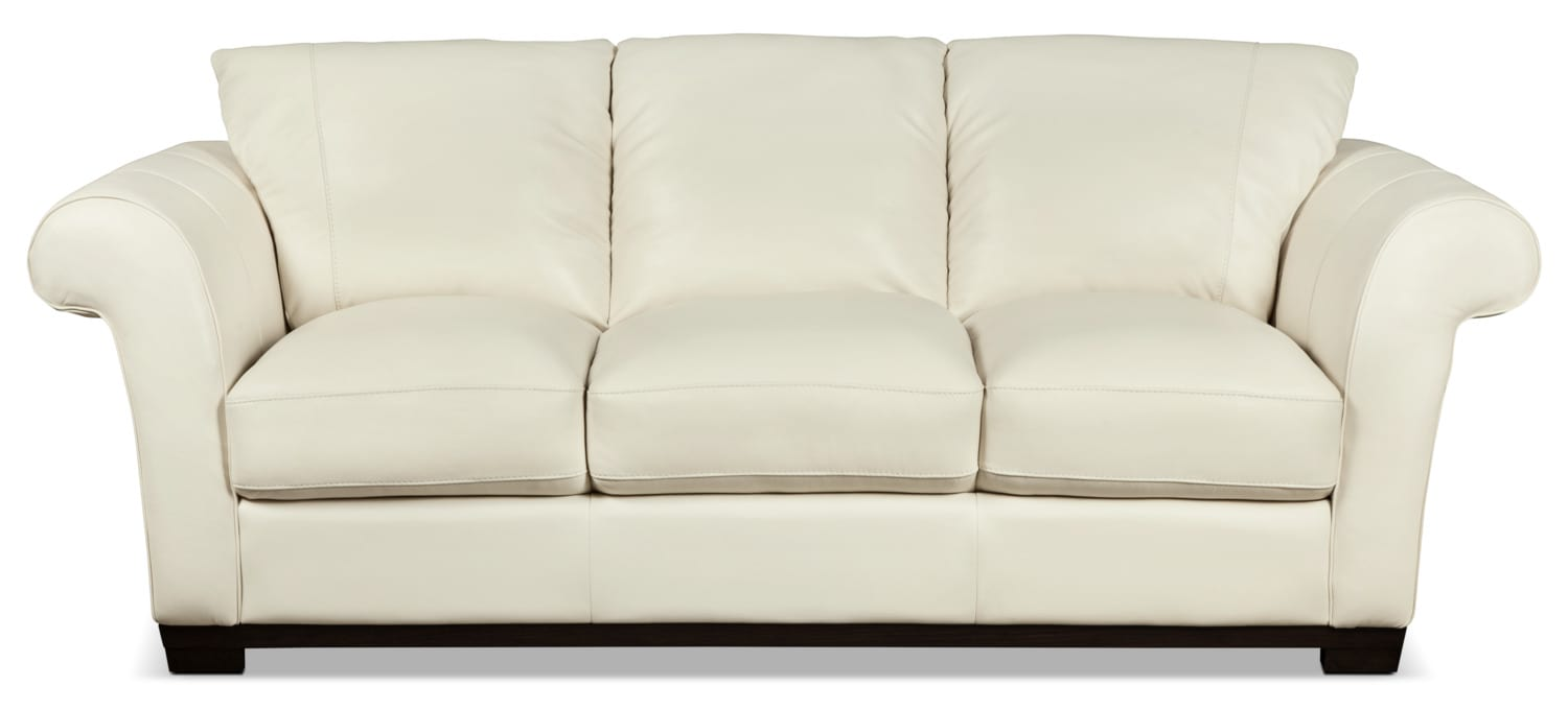 Layla Genuine Leather Sofa – Ivory