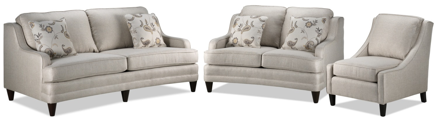 Liza Sofa, Loveseat, and Chair Set - Beige