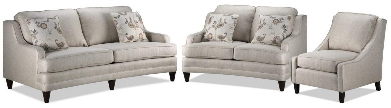 Liza Sofa, Loveseat, and Chair Set - Beige