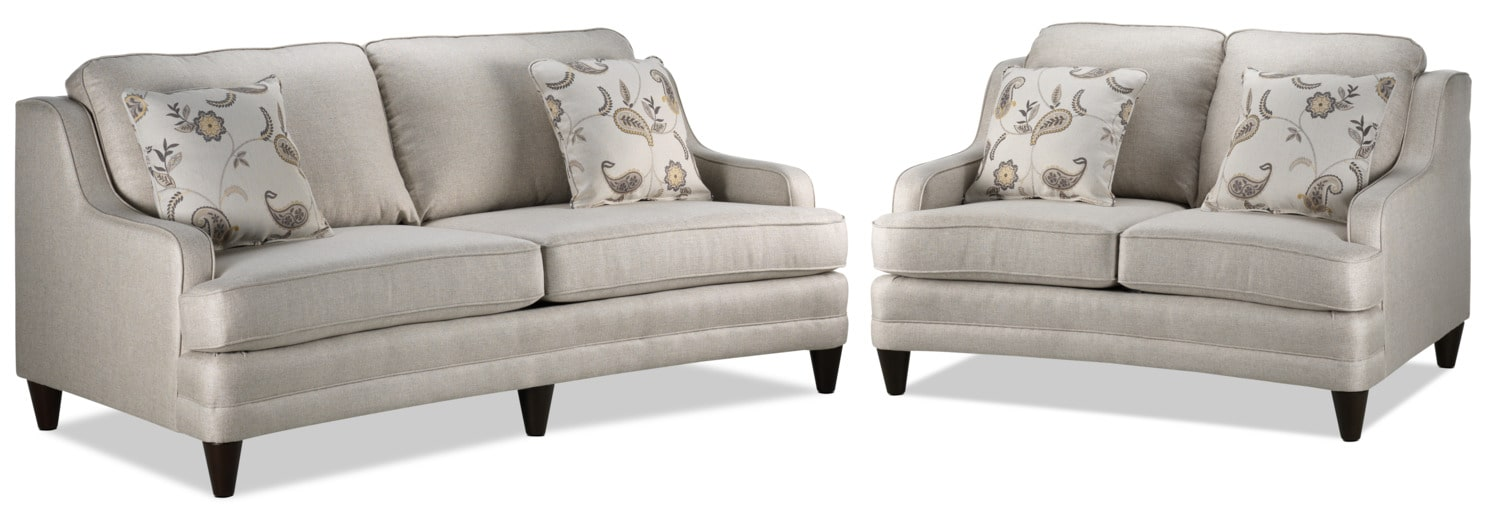 Liza Sofa and Loveseat Set - Beige