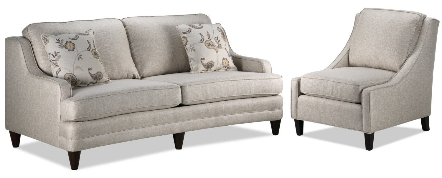 Liza Sofa and Chair Set - Beige