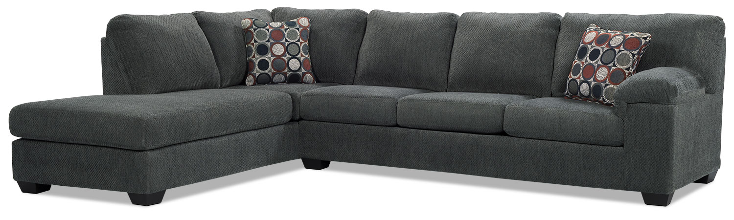 Morty 2 piece chenille left facing sofa bed sectional for Sofa bed the brick