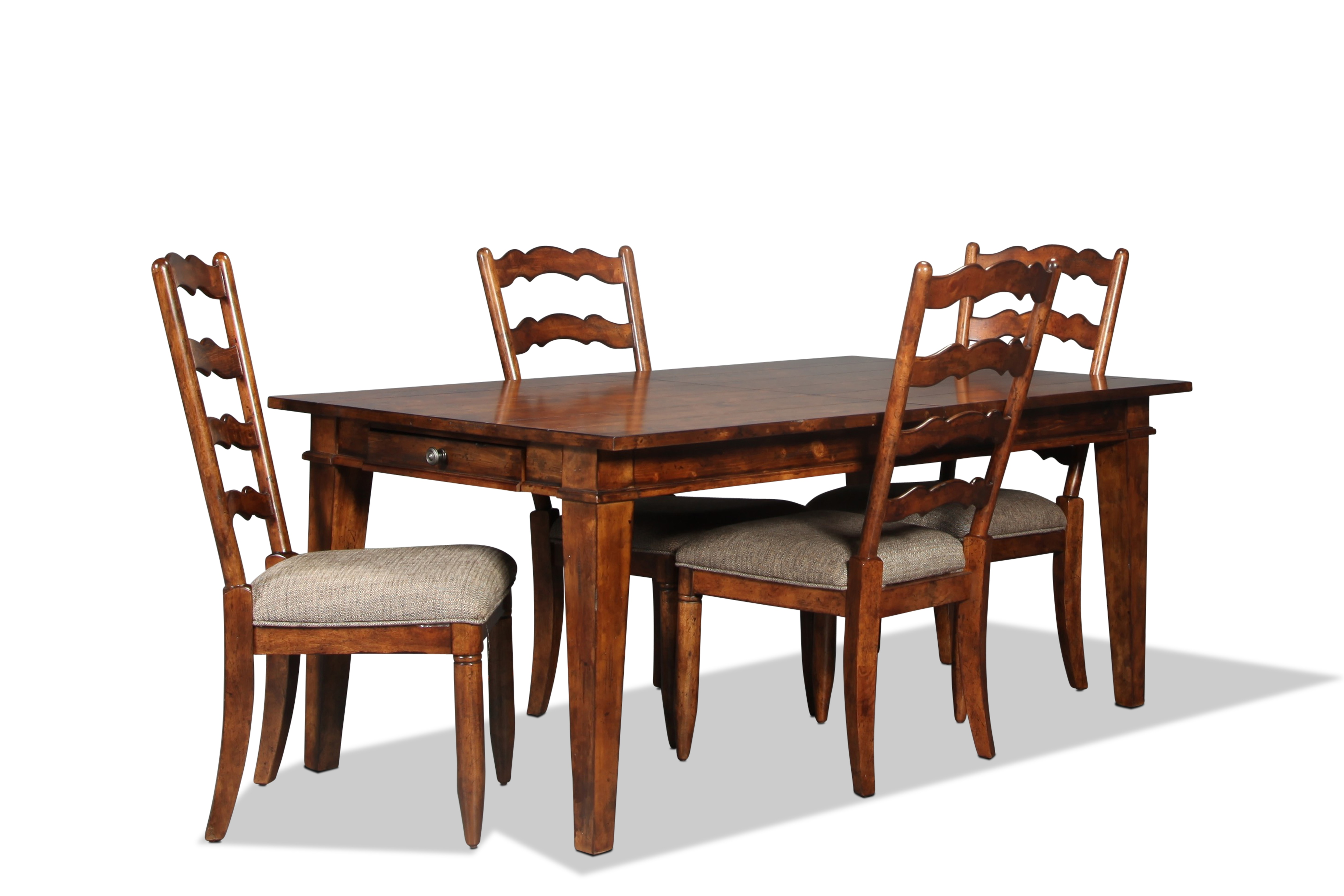Dining Room Furniture - Elkmont Pine Table and 4 Chairs - Dark Umber