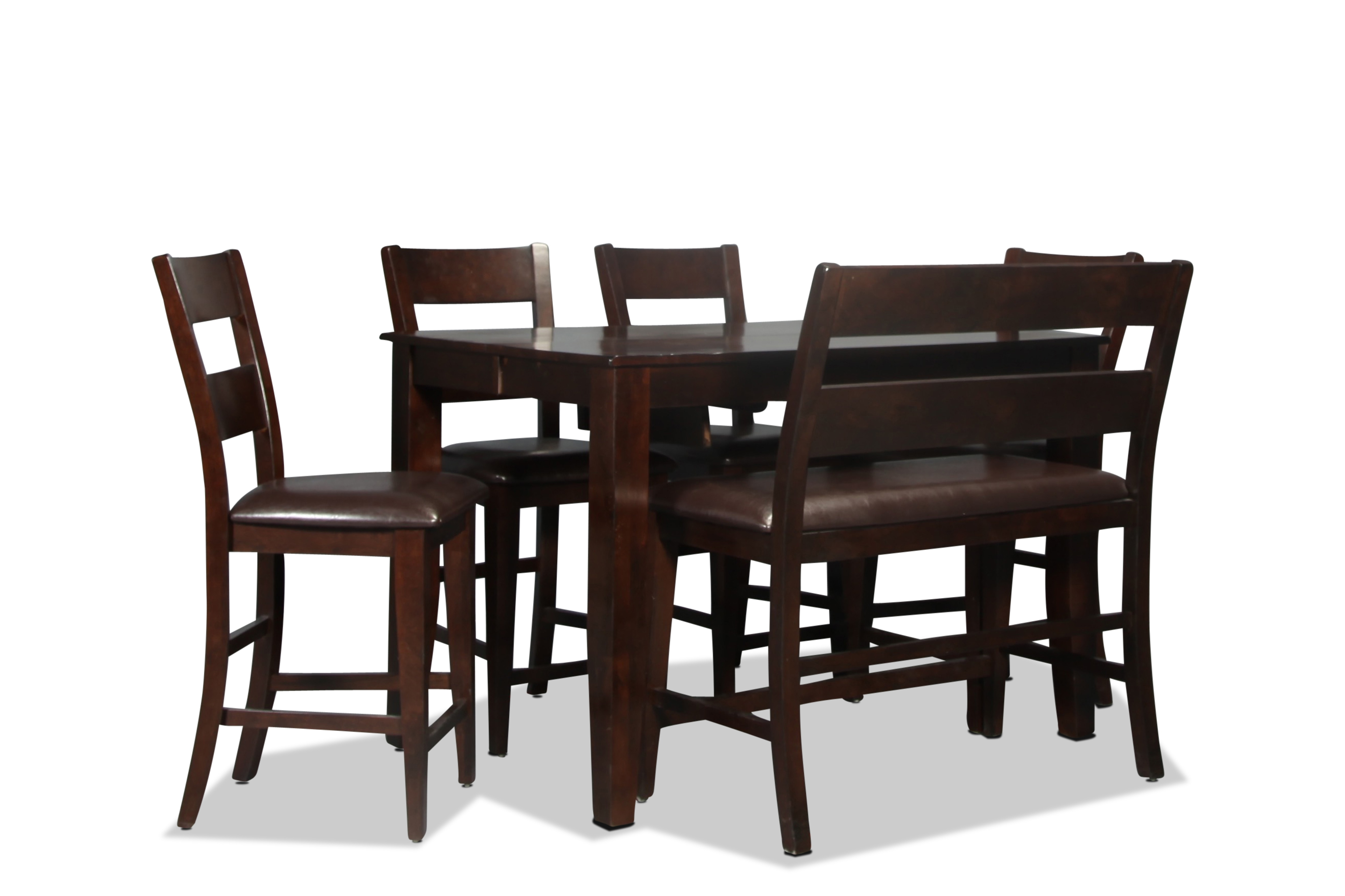 Dining Room Furniture - Urban View Pub Table and 4 Pub Chairs - Dark Cherry