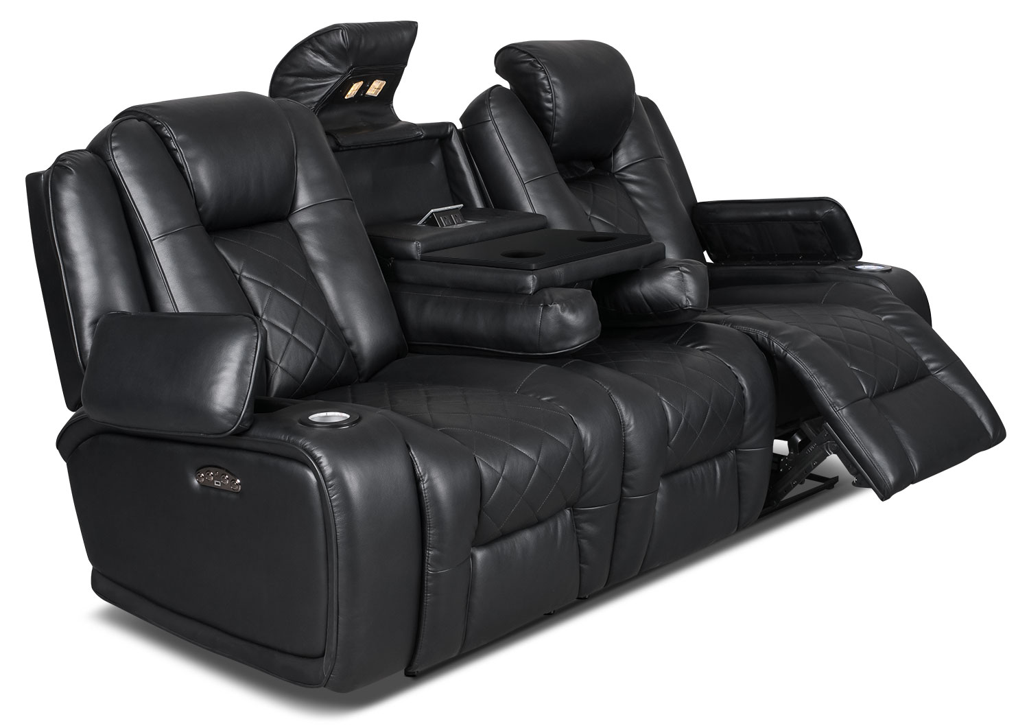 Lonzo Leather Look Fabric Power Reclining Sofa Black The Brick