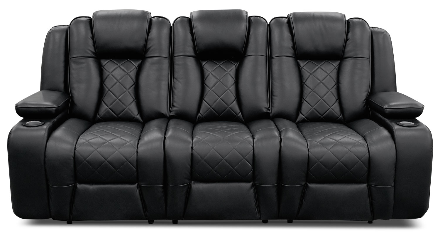 Lonzo Leather Look Fabric Power Reclining Sofa Black