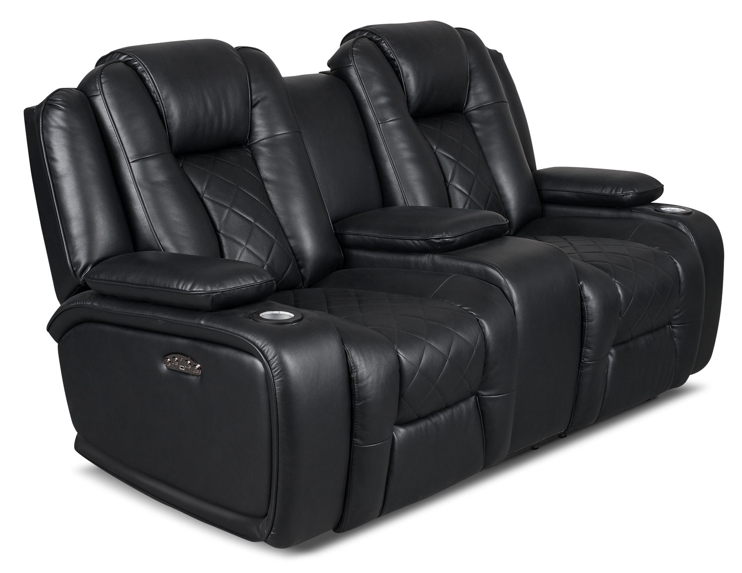Lonzo Leather Look Fabric Power Reclining Loveseat Black United Furniture Warehouse