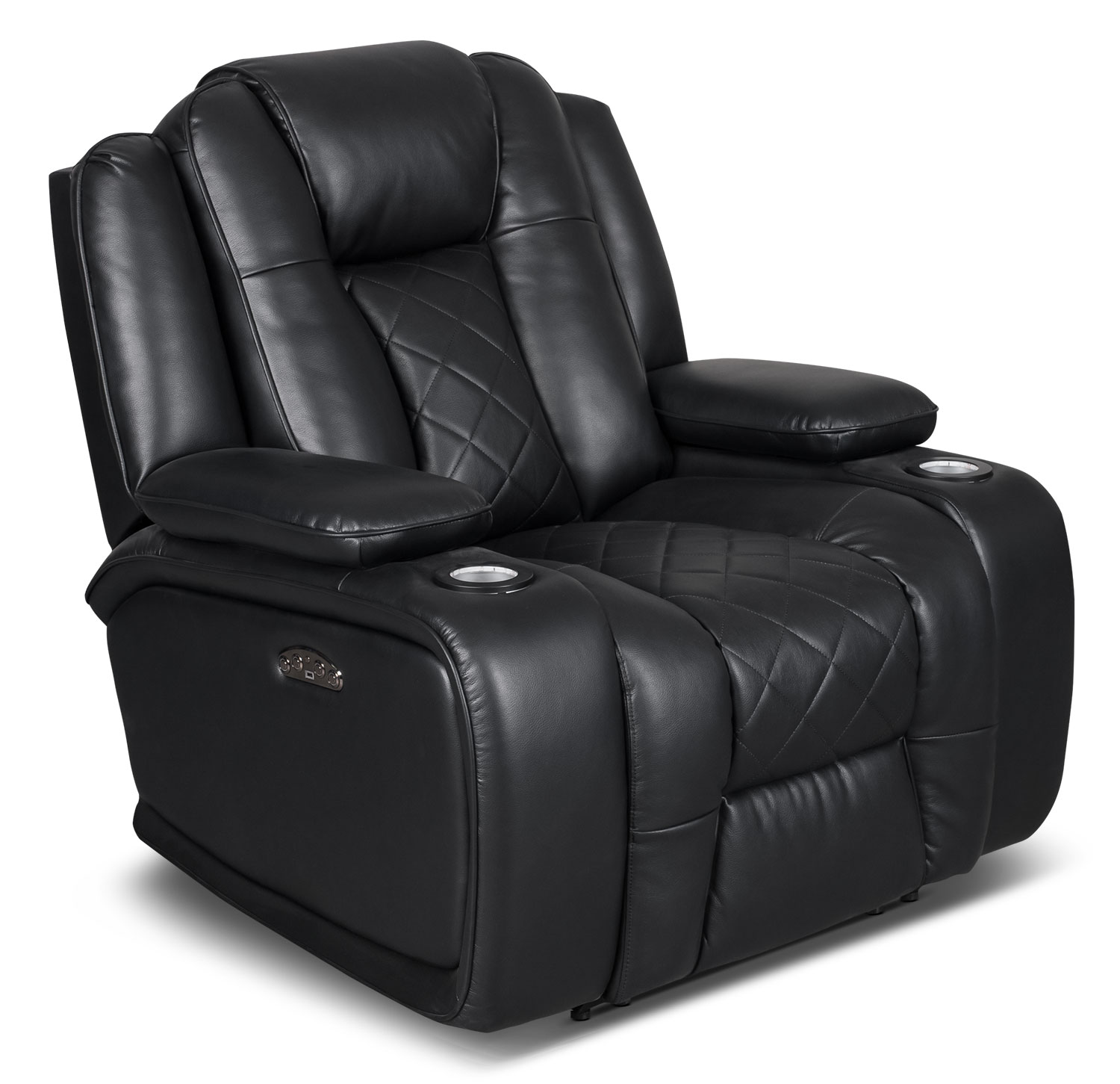 Living Room Furniture - Lonzo Leather-Look Fabric Power Reclining Chair – Black