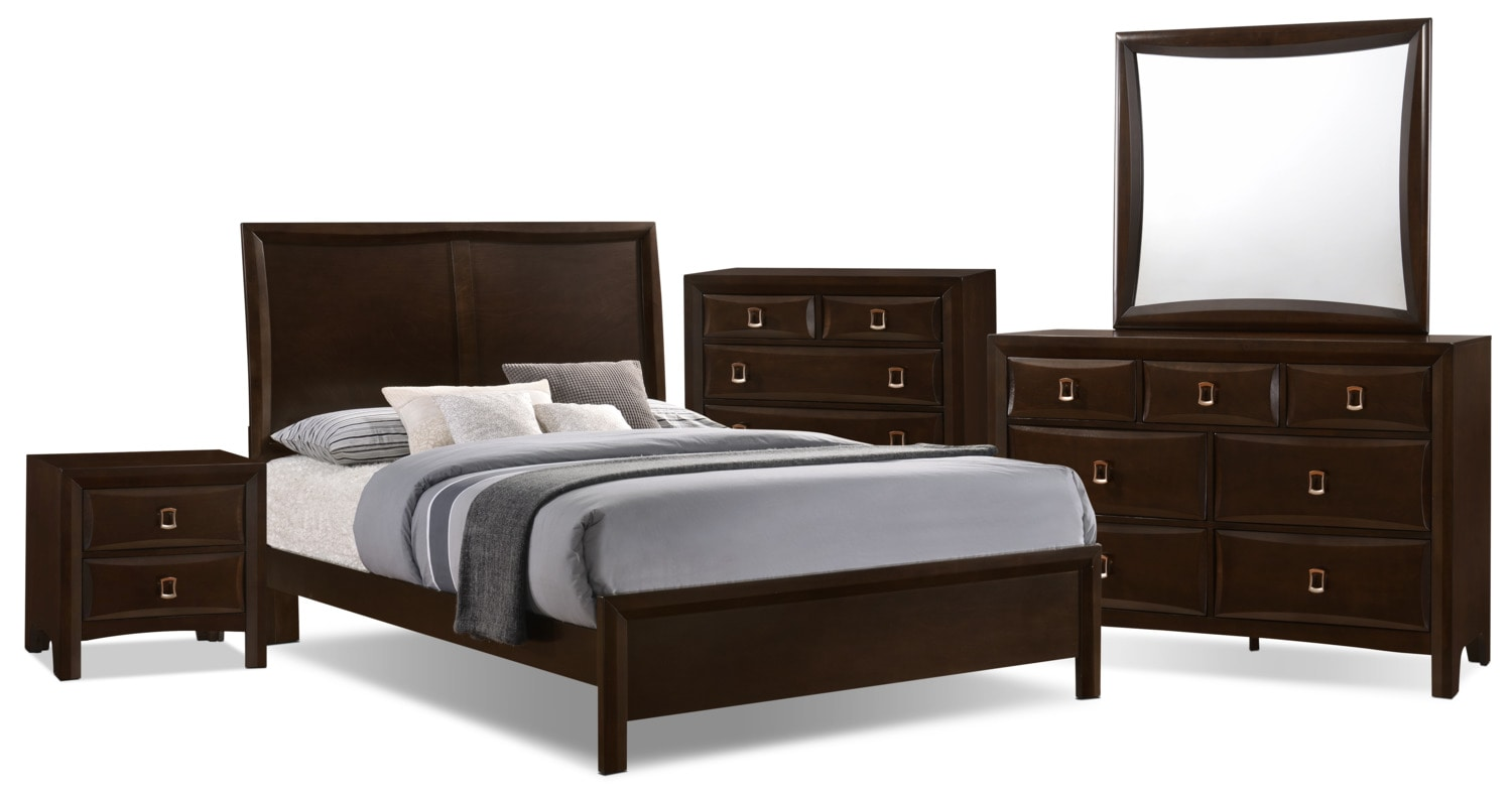 Bedroom Furniture - Bella 7-Piece King Panel Bedroom Collection