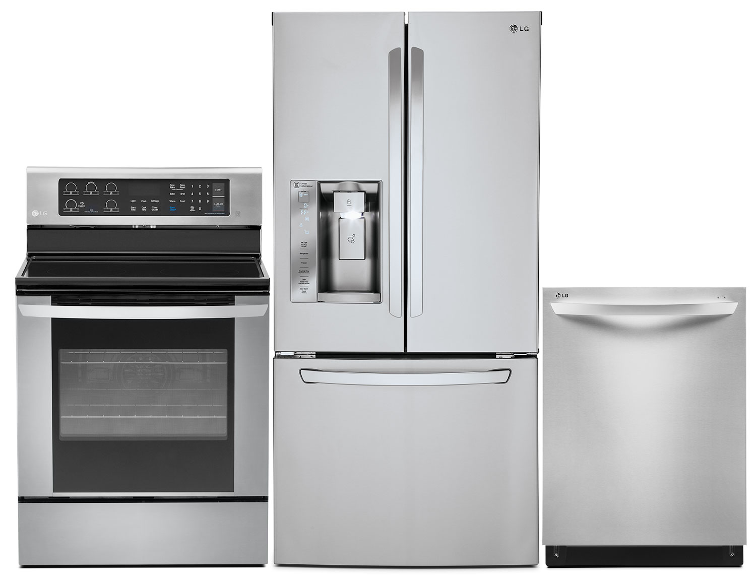 LG 24.2 Cu. Ft. French-Door Refrigerator, 6.3 Cu. Ft. Range and Dishwasher