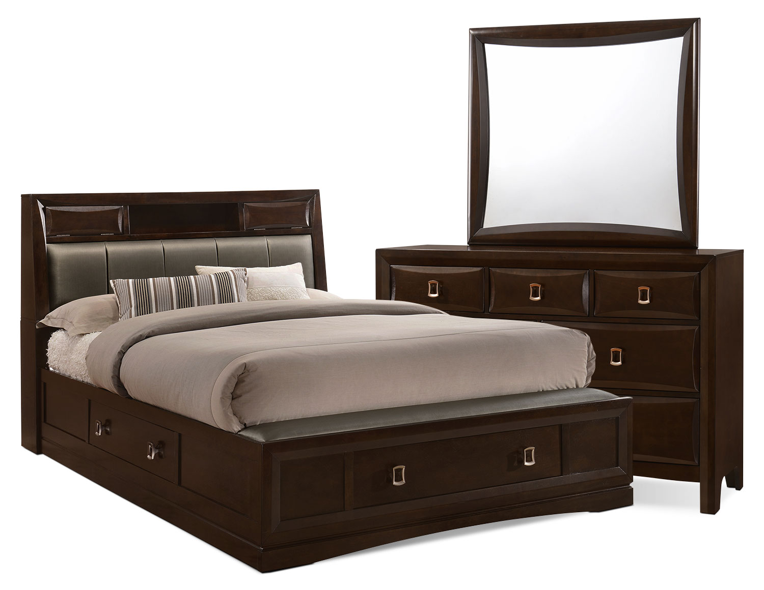 Bedroom Furniture - Bella 5-Piece King Bookcase Storage Bedroom Collection