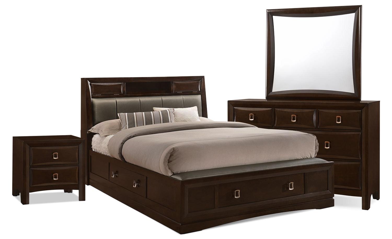 bedroom furniture bella 6 piece king bookcase storage bedroom