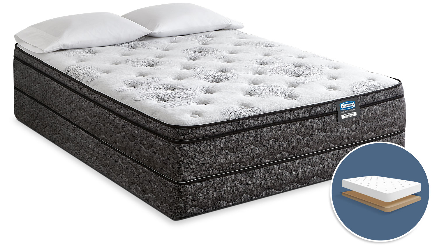 Simmons Do Not Disturb Bradford Euro-Top Firm Low-Profile Queen Mattress Set