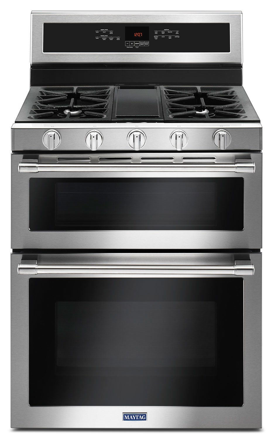 Maytag 6 0 cu ft double oven gas range with convection mgt8800fz the brick - Maytag electric double oven range ...