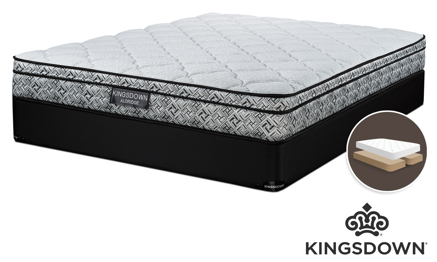 Kingsdown Aldridge Cushion Firm Queen Mattress and Split Boxspring Set