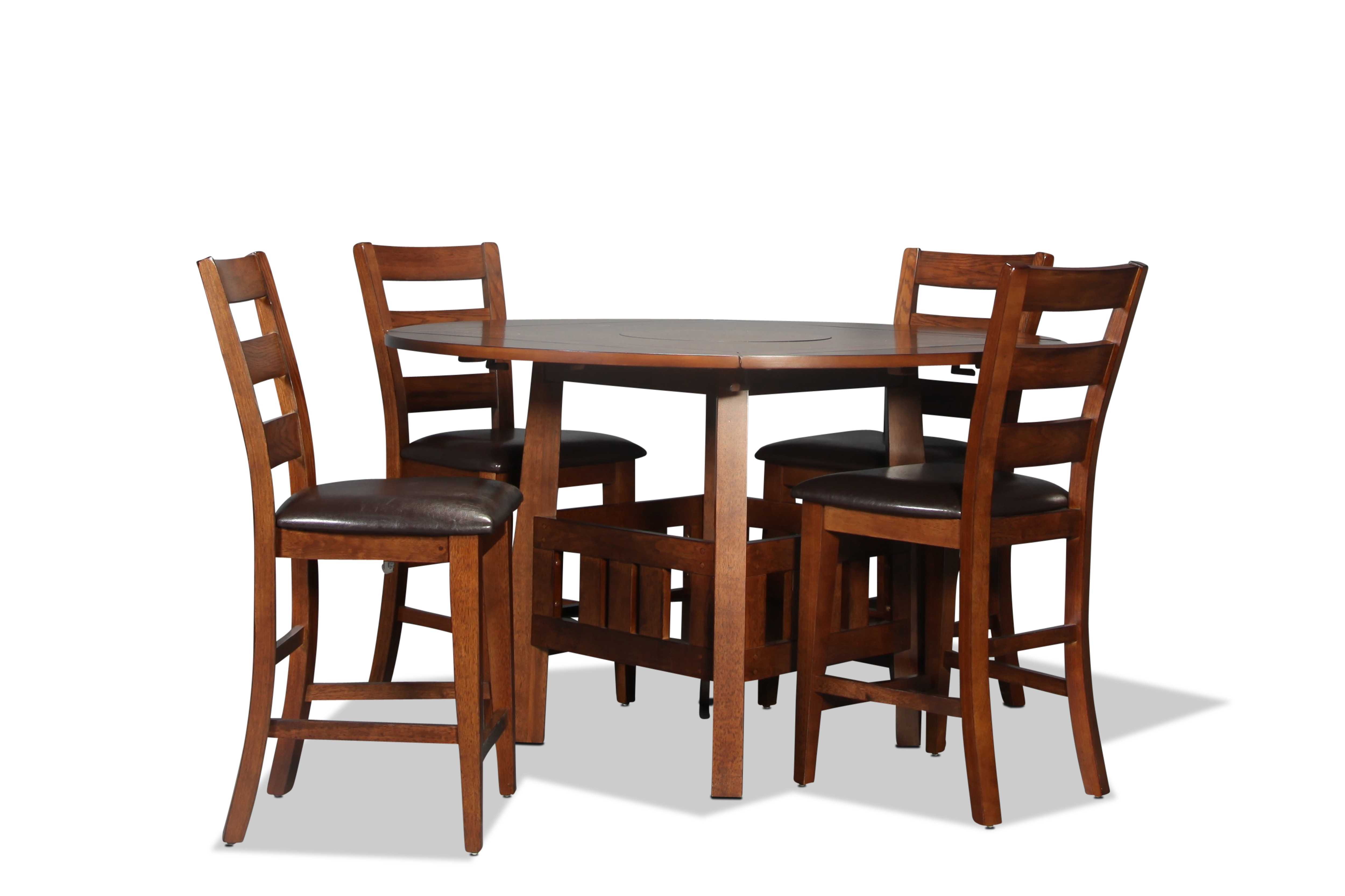 Graham counter height table and 4 chairs burnished oak for Dining room table for 4