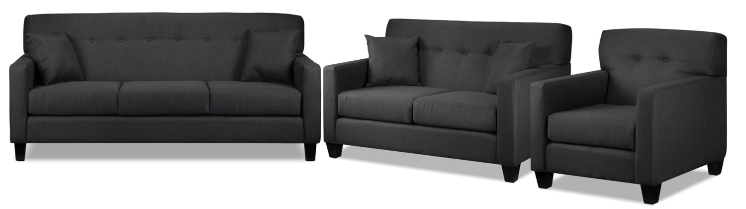 Grant Sofa, Loveseat and Chair Set - Charcoal