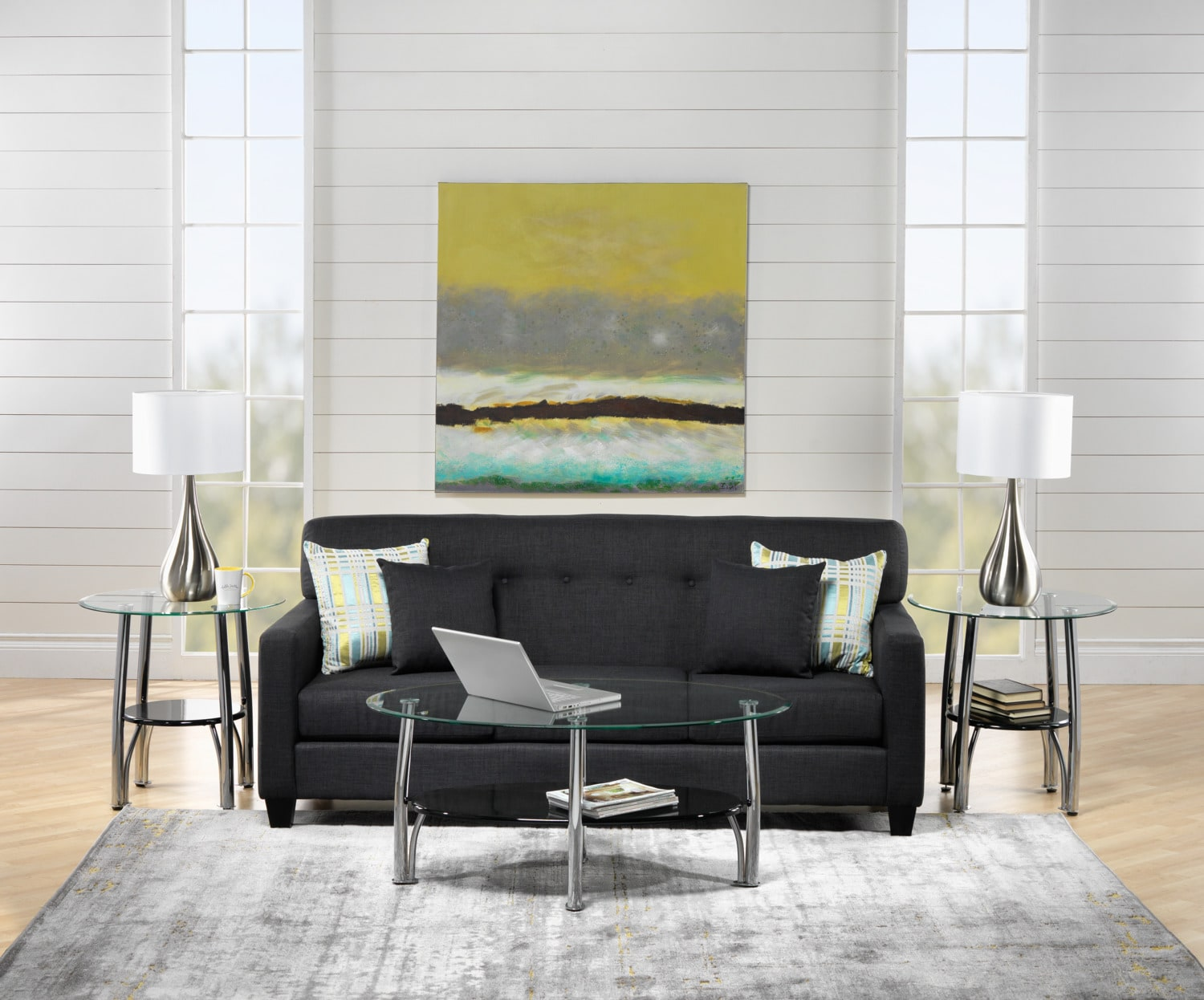 Grant Sofa, Coffee Table, 2 End Tables and 2 Tables Lamps Set