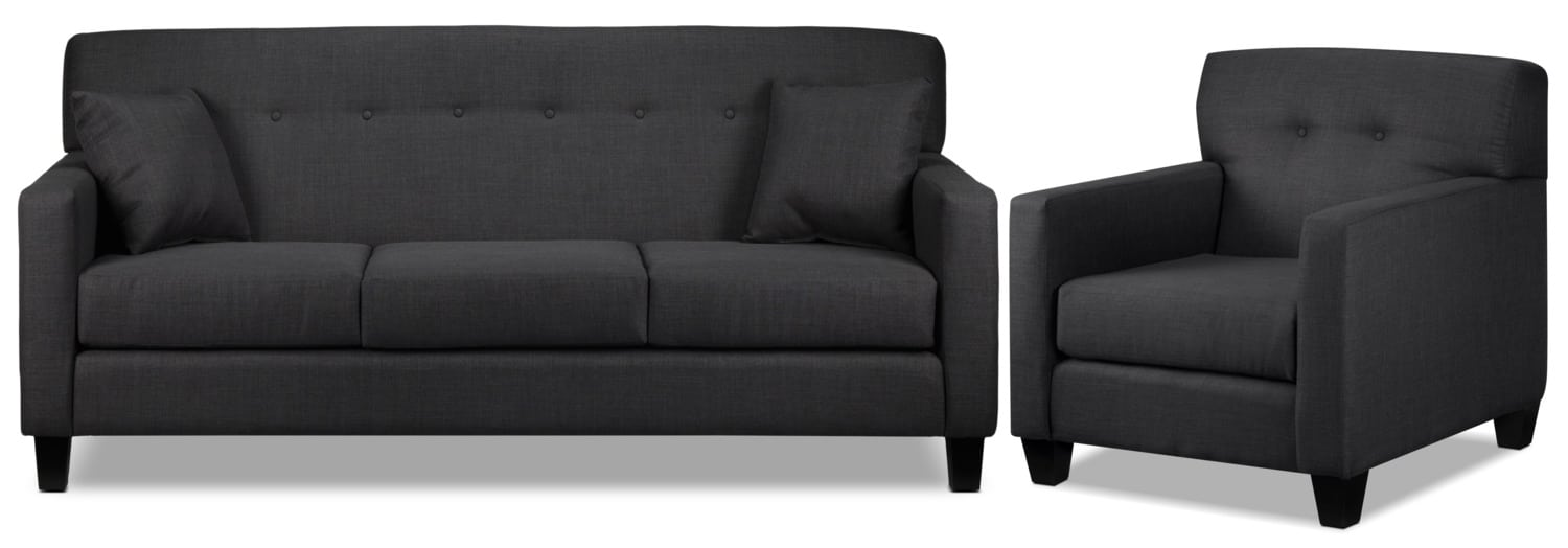 Grant Sofa and Chair Set - Charcoal