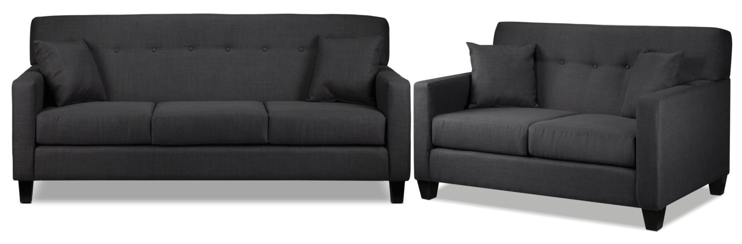 Grant Sofa and Loveseat Set - Charcoal