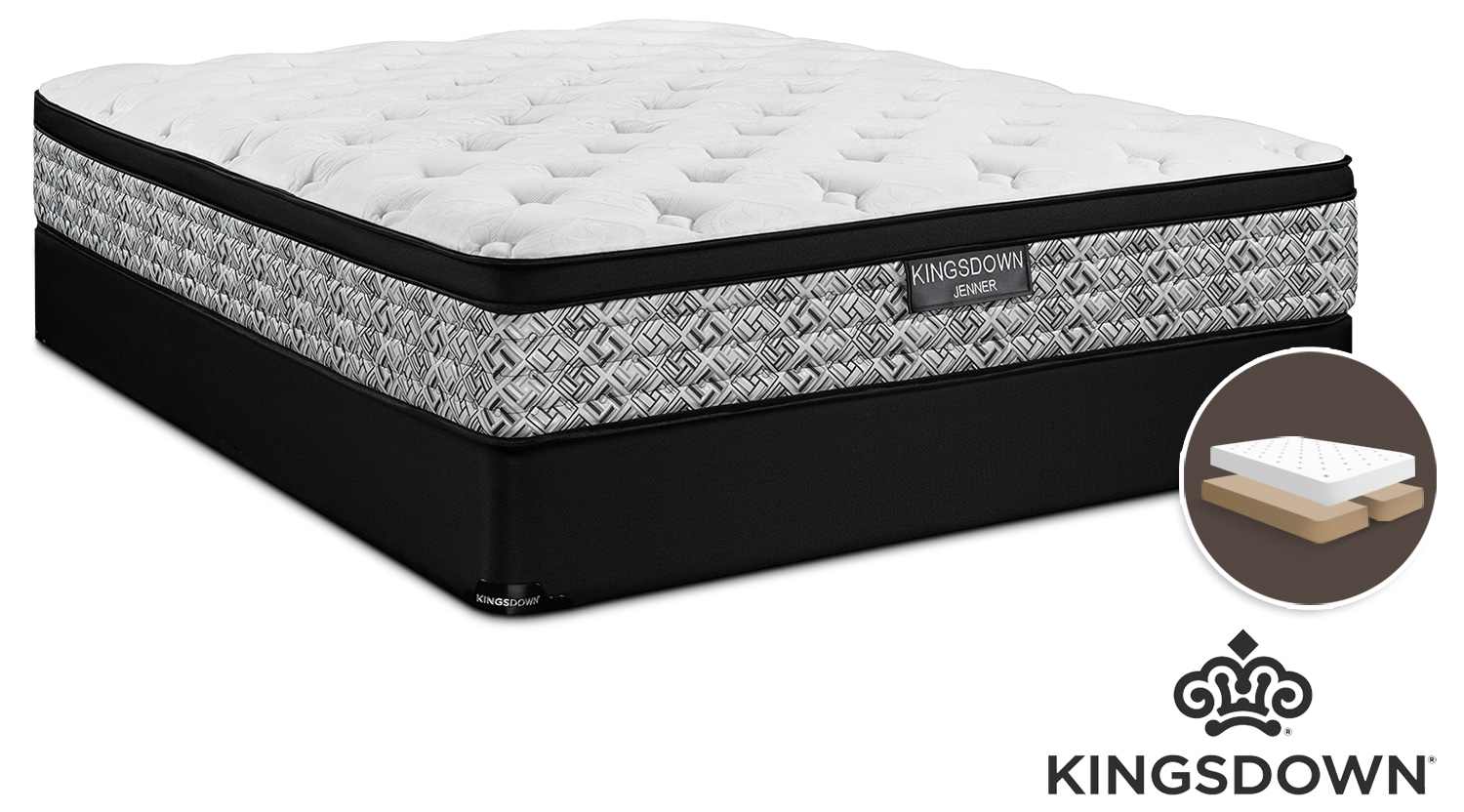 Kingsdown Jenner Cushion Firm King Mattress and Split Boxspring Set