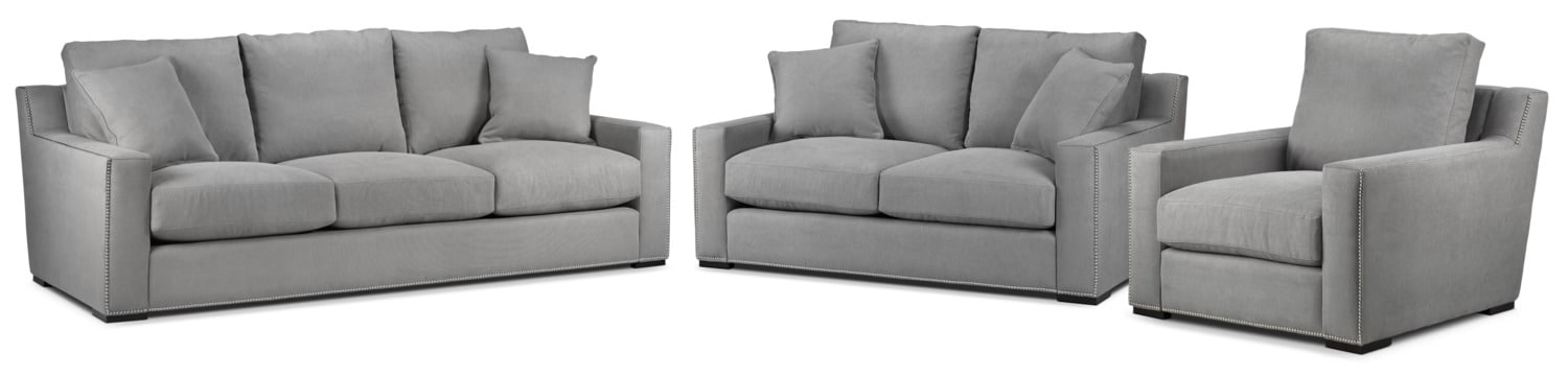 Ethan Sofa, Loveseat and Chair Set - Graphite