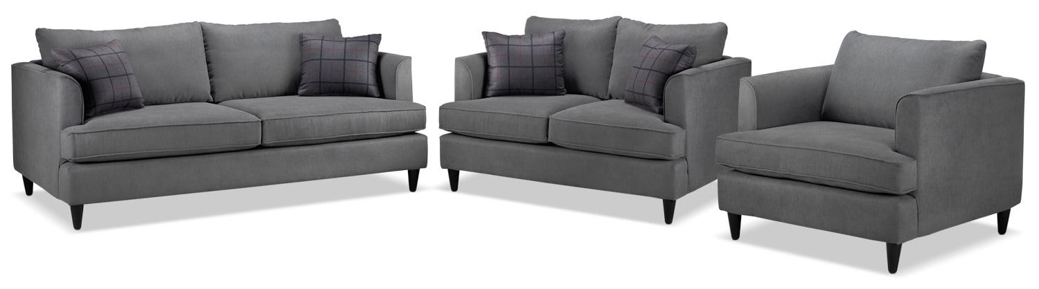 Hugo Sofa, Loveseat and Chair Set - Charcoal