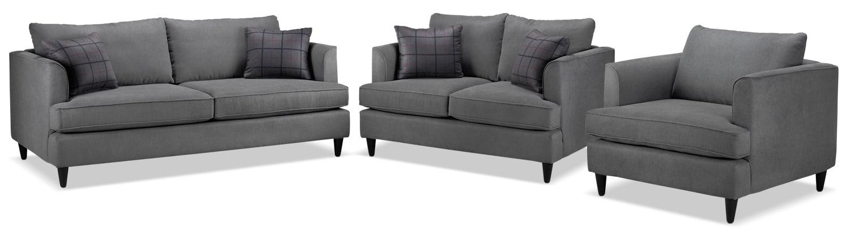 Hugo Sofa, Loveseat and Chair Set - Charcoal