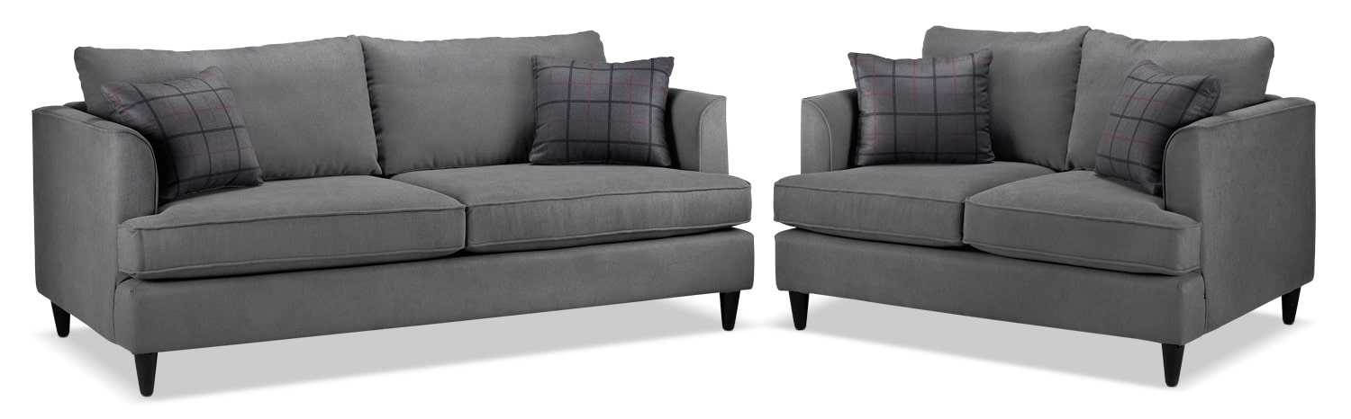 Hugo Sofa and Loveseat Set - Charcoal