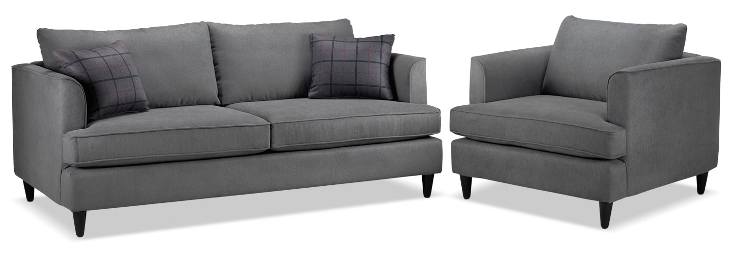 Hugo Sofa and Chair Set - Charcoal