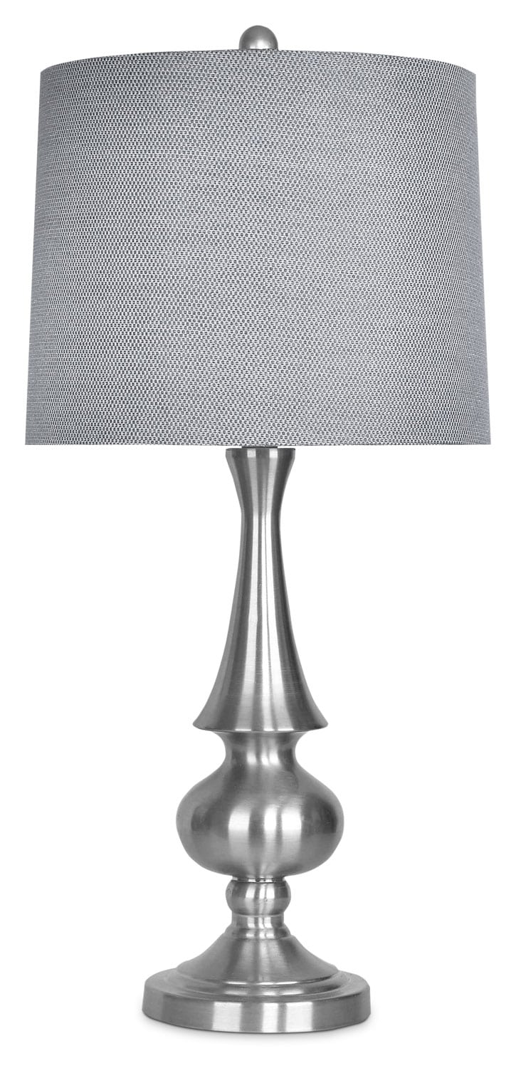home accessories brushed nickel table lamp with grey metallic shade. Black Bedroom Furniture Sets. Home Design Ideas
