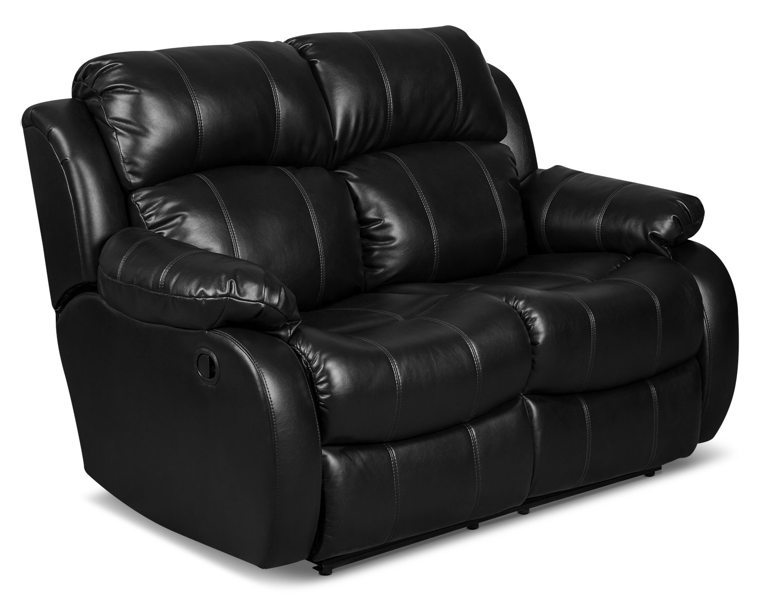 Omega 3 Leather Look Fabric Reclining Loveseat Black The Brick