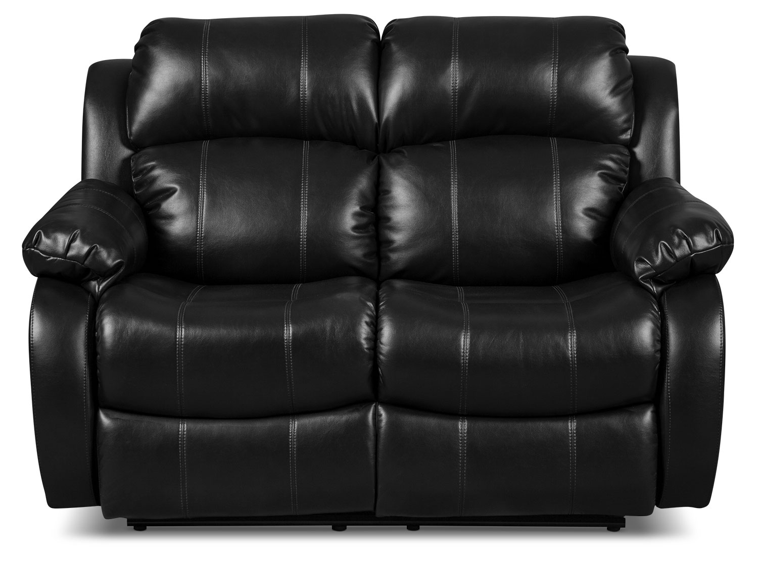 Omega 3 Leather-Look Fabric Reclining Loveseat – Black
