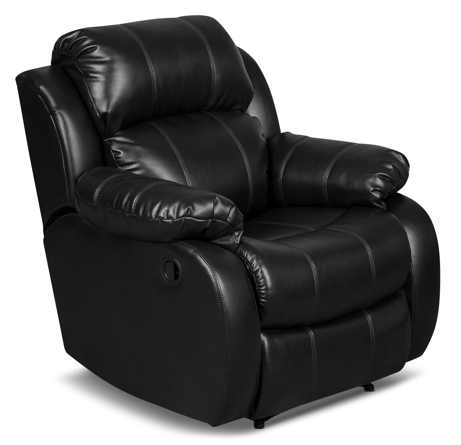 Omega 3 Leather-Look Fabric Reclining Chair – Black