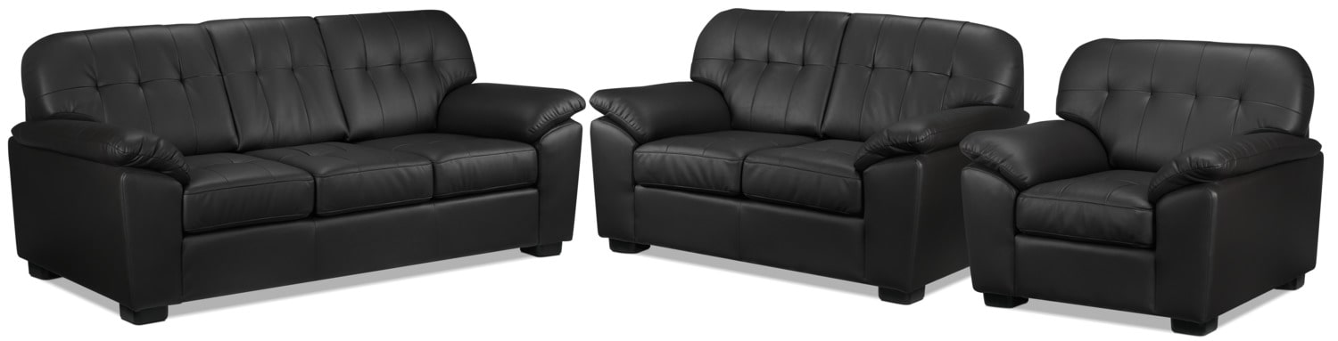 Dalton Sofa, Loveseat and Chair Set - Coffee