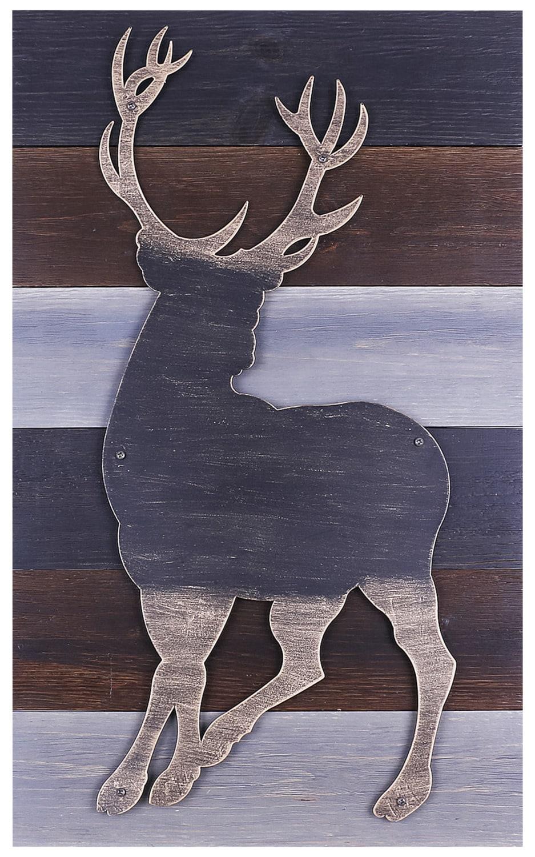 """Bronze Deer on Wood – 12"""" x 24"""""""