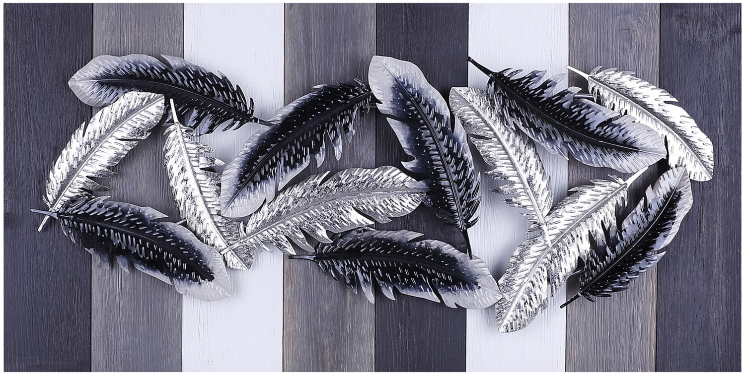 "Silver Black Feathers – 34"" x 14"""
