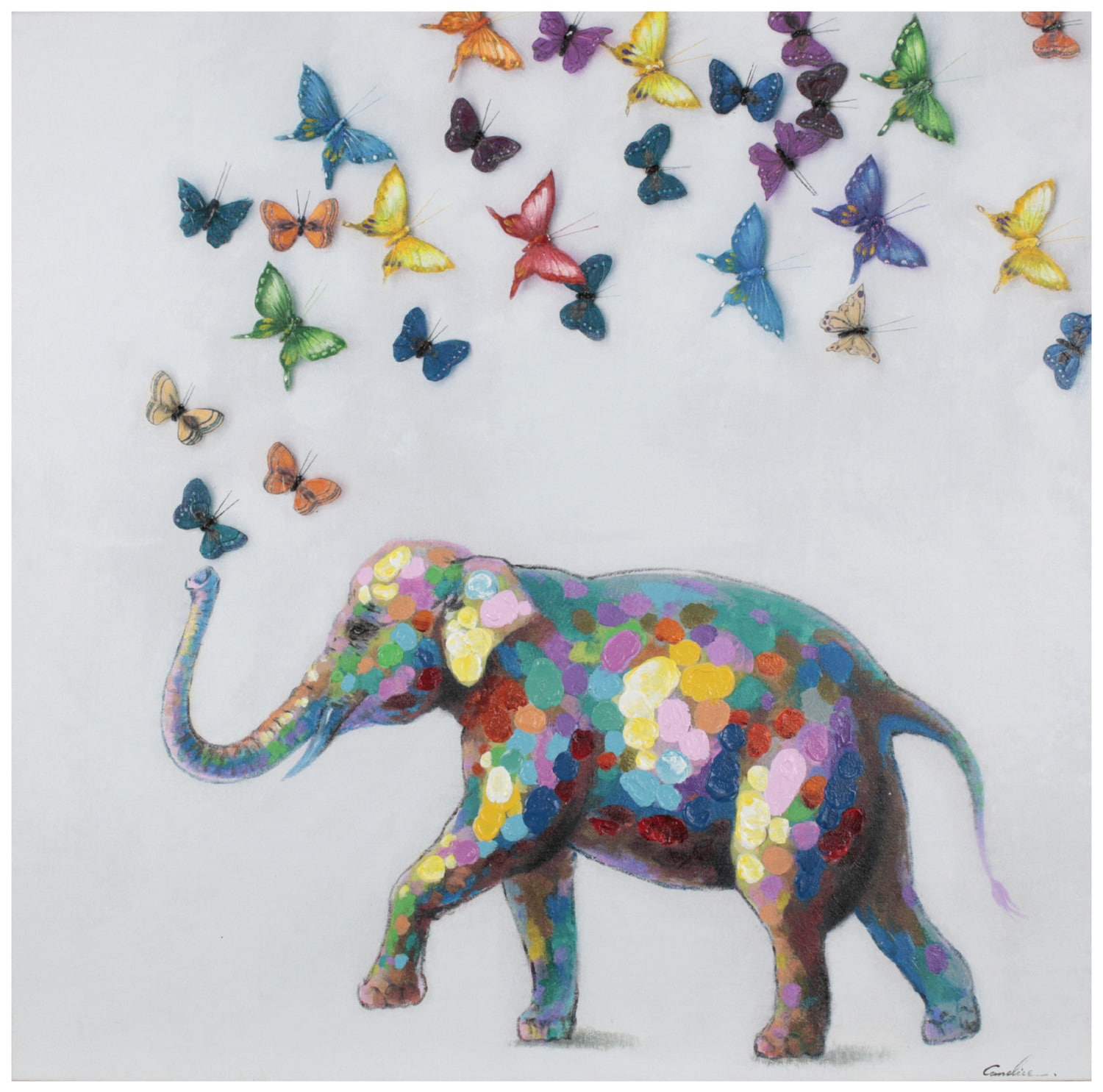 "Accent and Occasional Furniture - Elephant + Butterflies – 38"" x 38"""