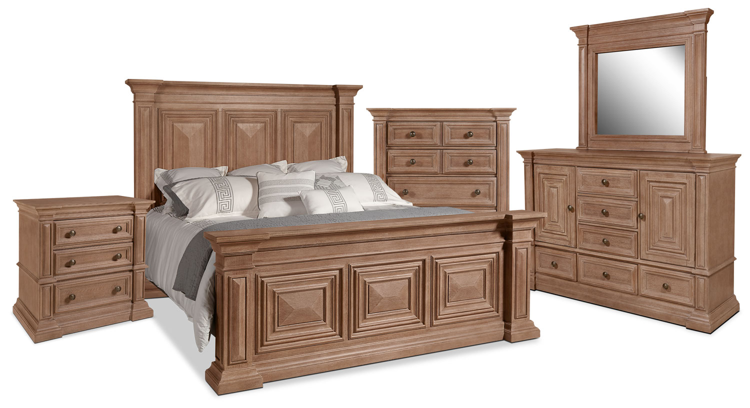 Sedona 7 piece king bedroom package the brick for Bedroom furniture packages