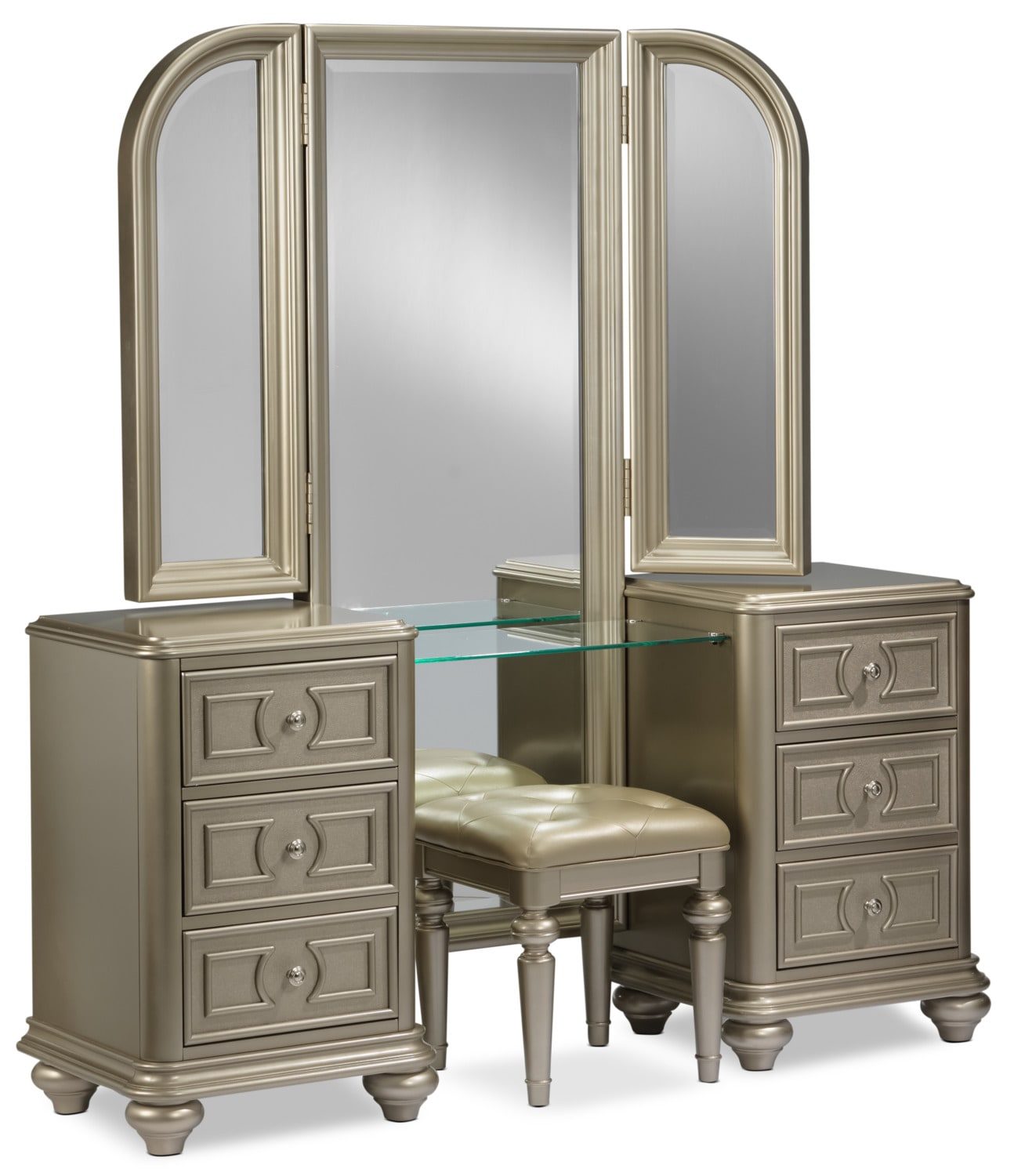 Bedroom Furniture - Dynasty 2-Piece Vanity Set - Gold
