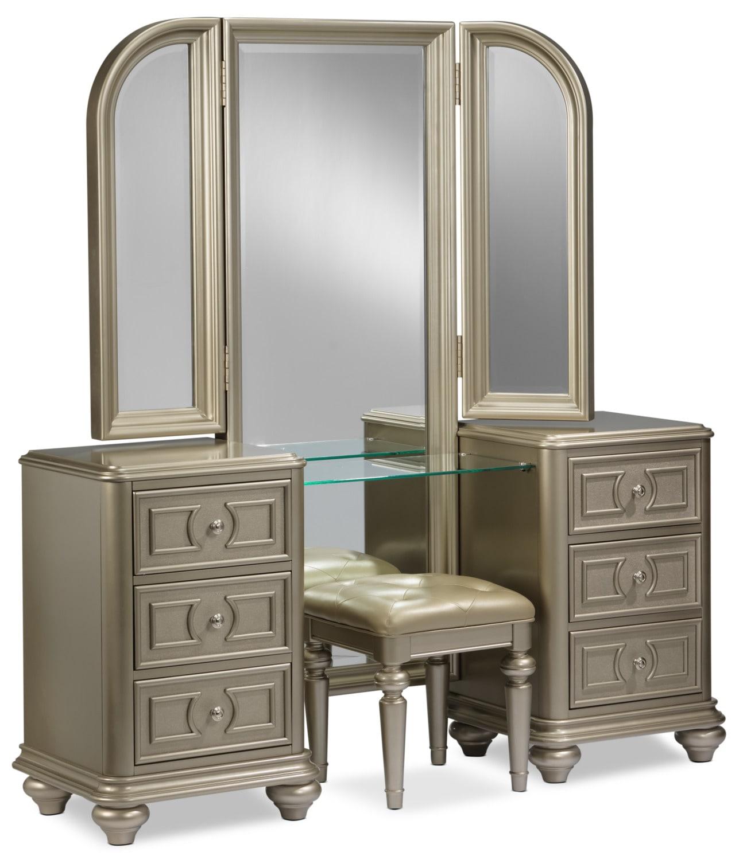 Bedroom Furniture - Dynasty 2-Piece Vanity Set - Gold