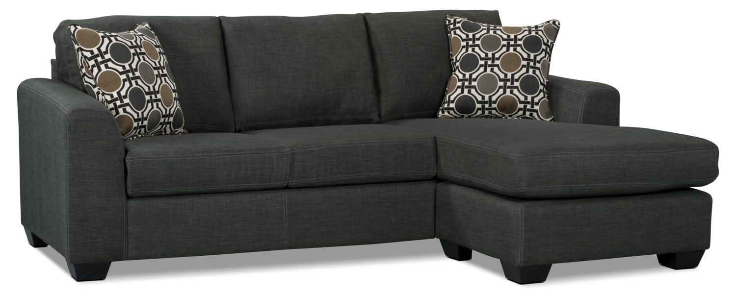 Nina 2-Piece Linen-Look Fabric Sectional with Ottoman – Grey