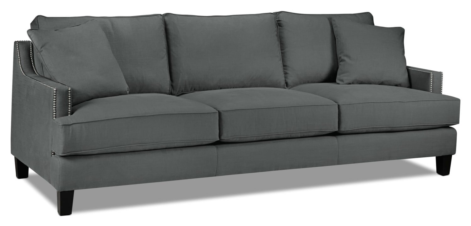 "Living Room Furniture - Jules 96"" Sofa - Charcoal"